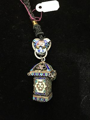 Antique Chinese Silver & Enamel Miniature Lantern With Jade
