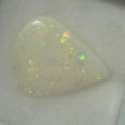 2.64 ct Solid Certified Natural Australian White Opal Pear Cab 14.16mm x 11.47mm