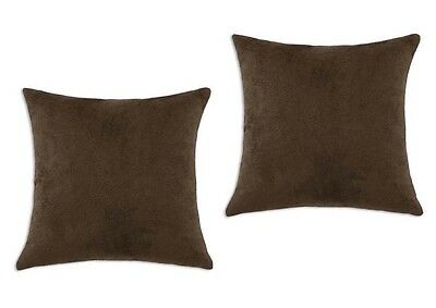 2 Piece Euro Shams Solid Brown Cover Case Micro Suede Decorative Pillow 26 x 26