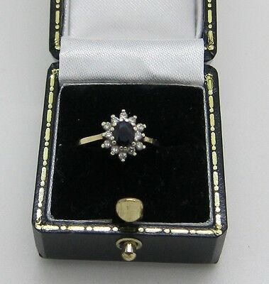 Stunning Vintage 9ct Gold Sapphire and Diamond Cluster Ring