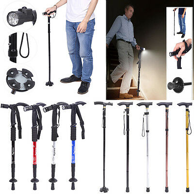 Anti-Shock Telescopic Walking Hiking Stick With LED Light Handle Folding Cane MJ