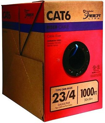 Southwire 1000 ft Blue 23 4 CAT6 Riser CMR Solid Cable Twisted Pair Indoor NEW