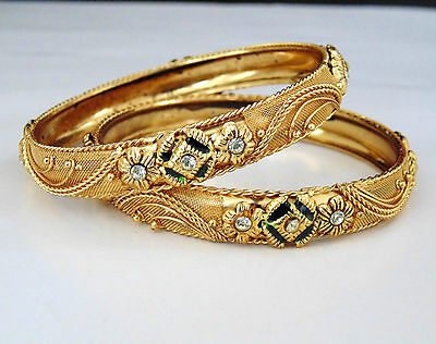 Indian Bollywood Jewelry Bangls Bollywood Gold Plated Traditional Set 2.4 Size