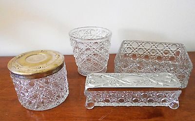 LOT OF 4 X DAVIDSON ENGLAND CUT GLASS CANE PATTERN DRESSING TABLE ITEMS C1880s