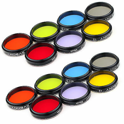 1.25'' Eyepiece Filter Set Colored Planetary&Moon Filters Kit for Telescope co