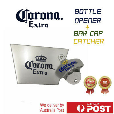 Corona wall mounted bottle opener Stainless Steel Bar Cap Catcher with Screws