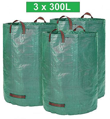 GloryTec Garden Waste Bag 3 x 300 Liters | Large and Extra Strong Garden Bags wi
