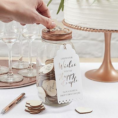Ginger Ray Wishing Jar & Wooden Hearts Alternative Wedding Guest Book