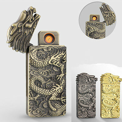 Electric Arc USB Dragon Lighter Double Sides Rechargeable Pulse Flameless Gift