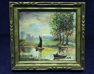 "Miniature Antique Framed Oil Painting - Boats On Lake Landscape - Signed ""KGHS"""