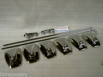 6 Mod Style Chrome Fluted Back Mirrors.stems And Bracket Kit Fits Lambretta