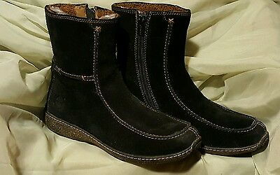Timberland Fashion Ankle Boots Black Suede Side Zipper Sherpa Lining Size 8