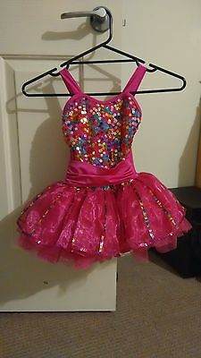 Girls Dance Costume Bright Pink with multicolour sequins and tulle skirt size4-6