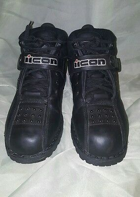 Icon Black Super Duty 4 Motorcycle Boots Mens Size 10