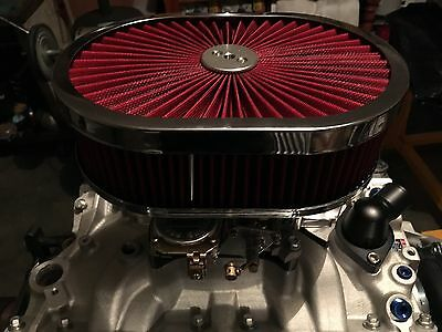 """*special* 12""""x9x3 Flow Top Oval Air Cleaner Suite Holley Quickfuel Edelbrock"""