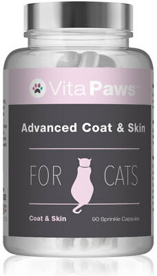 Advanced Coat & Skin For Cats By VitaPaws™ 90 Sprinkle Capsules|Calms Itchy Skin