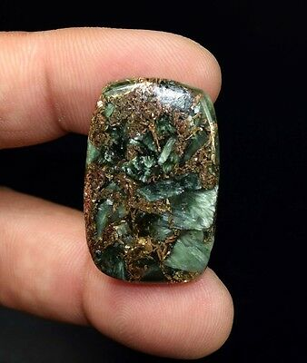 Unusual ! 28.65  Cts. Natural Copper Seraphinite Cab For Sterling Silver Jewelry