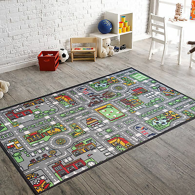 Kids Grey Village Road Rugs Girl Boy Fun Play Mat Bedroom Nonslip Nursery Carpet