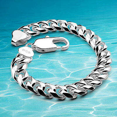Men Fashion Cuban 925 Sterling Silver Bracelet Vintage Link Chain Men Jewellery