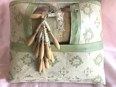 Antique Lacemaking Roller Pillow + Unfinished Work, Bobbins & Pattern (French)