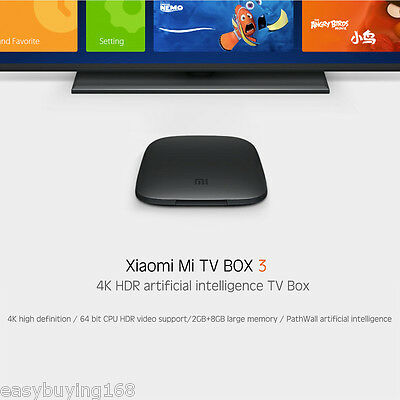 Xiaomi MI BOX 3 Android 6.0 Quad Core 2+8G Dual-Wifi HDR 4K Media Player TV BOX