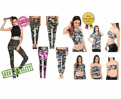New Womens Army Camouflage Leggings Ladies Full Length Stretchy Army Leggings