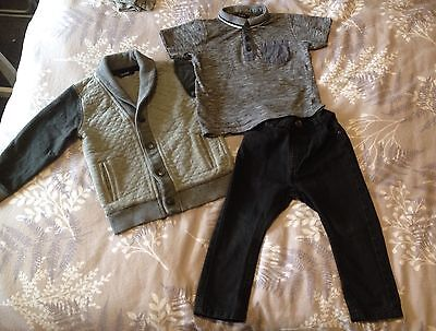 Boys George Asda 3 Piece Outfit 2-3 Years Top Jeans & Jacket