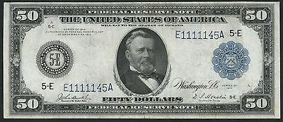 Fr1042 $50 1914 Series Frn Burke / Houston Xf-Au (Only 108 Recorded) Wlm2746