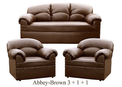 New Brown Leather Sofa 3 + 1 + 1  Sofas Couch Suite Settee
