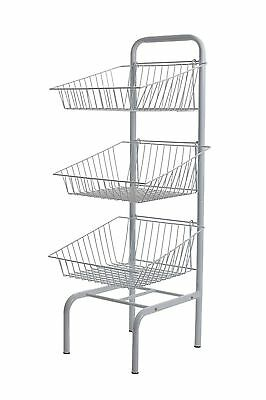 New 3 Tier White Free Standing Basket Unit Stand For Retail Shop Display