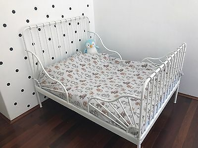 Ikea Kids Toddler Extendable Single Bed White Metal (frame Only)