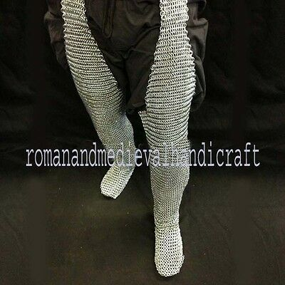 Butted MS Steel Chain Mail Leggings Chain Mail Chausses Leg Armor Zinc Plated