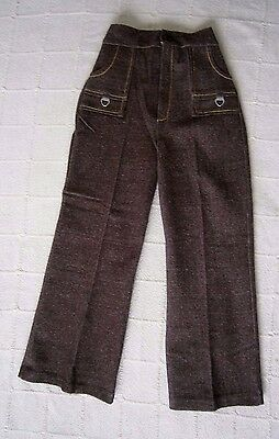 Vintage Stretch Flared Trousers - Age 8-9 Years Approx Brown Marl - Zip -New