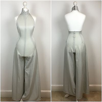 ORIGINAL VINTAGE 1970s Silver GLAM ROCK HALTER JUMPSUIT BELL BOTTOM PALAZZO  XS
