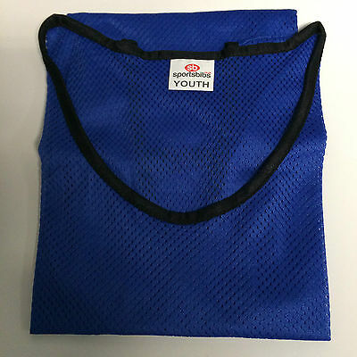 "11 x SPORTSBIBS FOOTBALL NETBALL RUGBY MESH TRAINING BIBS YTH 44"" CHEST BLUE (09"