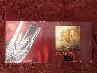 Chantilly 24% lead crystal 4 x glass tumblers new boxed
