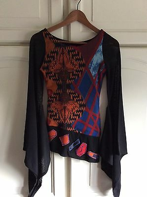 Save The Queen Funky Top In Black Orange Red & Blue With Fabulous sleeves Size S