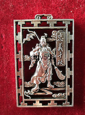 China Decorated Wonderful Miao Silver Carving Lucky Guan Yu Pendant LJQ178