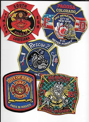 5 New Fire Patches - Set # 585   fire patch