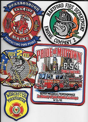 5 New Fire Patches - Set # 591   fire patch