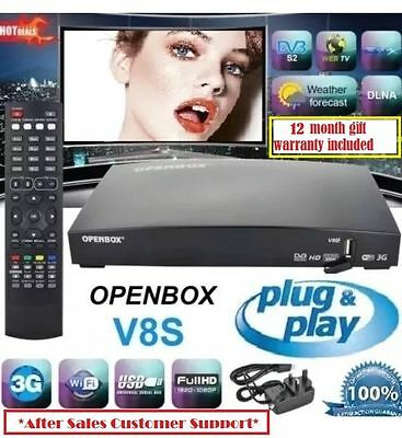 100% Genuine Openbox V8S Latest Model With 12 Iptv Gift - Plug And Play!! **