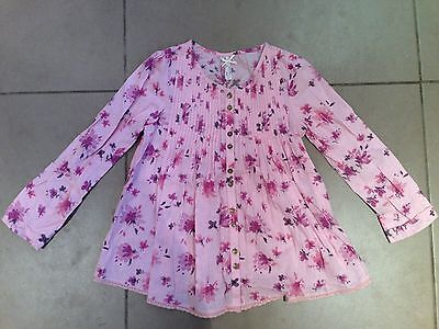 NEXT girls pink floral pintuck long sleeved blouse age 8