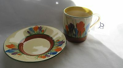 Clarice Cliff crocus pattern coffee cup and saucer chipped lot B