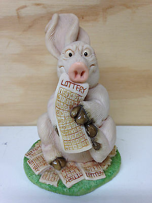 Piggin' Lottery Handmade Pig Figurine By David Corbridge 1996.