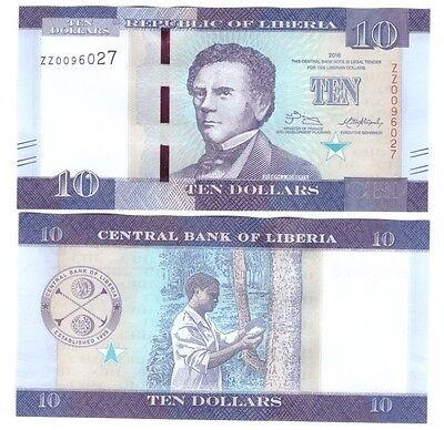 Liberia 2016 10 Dollar Banknote Replacement Unc Zz