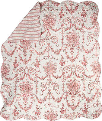 Red Toile Print Reversible Quilt 60 X 50