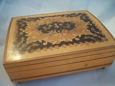 Vintage Sorrento Ware Wooden Musical Jewellery Box