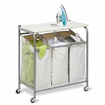 Rolling Ironing and Sorter Combo Laundry Center, Laundry Hamper