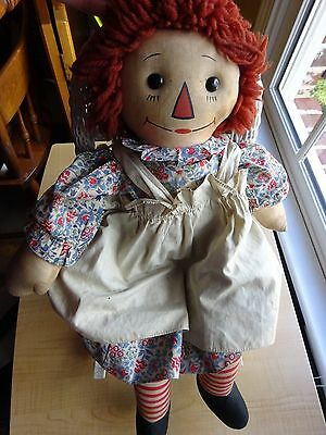 """Antique Raggedy Ann Doll -   Johnny Gruelle Tagged -1920's 19"""" Adorable"""