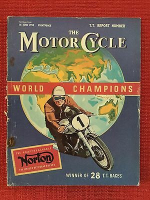 Rare The Motor Cycle Magazine Edition Dated 18 June 1953